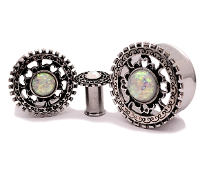 316L Steel with Antique Silver Tribal Shield and Synthetic Opal Tunnels