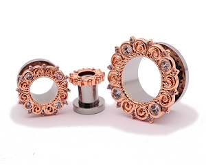 316L Steel Screw on Tunnels with Rose Gold Plated CZ Vintage Filigree