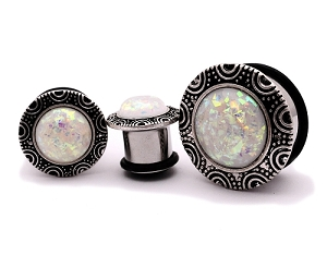 316L Steel Single Flare Tunnels with Brass Top and Synthetic Opal