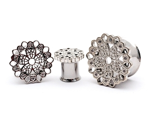 316L Steel Double Flare Tunnels with CZ Set Filigree Top