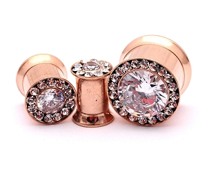 316L Rose Gold Steel Double Flare Tunnels with Large Centered CZ and CZ Rim