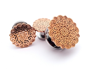 316L Steel Screw on Plugs with Rose Gold Flower Top