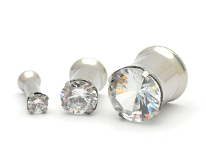 316L Steel Double Flare Plugs with Prong Set CZ