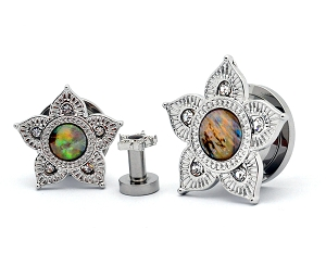 316L Stainless Steel Screw on Tunnels with Abalone Centered Flower Top