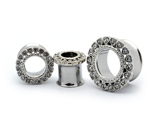 316L Stainless Steel Double Flare Tunnels with Gemmed Heart Front