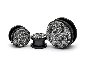 316L Black Steel Screw on Plugs with Silver Faux Druzy Inlay