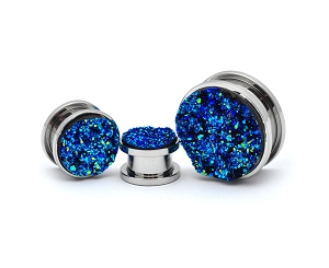 316L Steel Screw on Plugs with Blue Faux Druzy Inlay