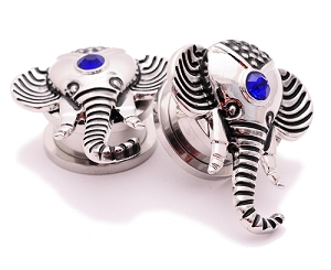 316L Surgical Steel Elephant Screw on Plugs with Blue CZ