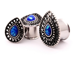 Steel Double Flare Tunnels with Antique Silver Teardrop and Synthetic Opal