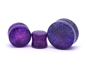 Purple Dragon Vein Agate Stone Plugs