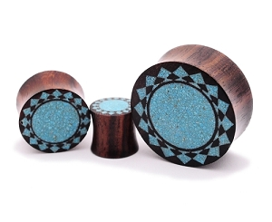 Sono Wood Plugs with Tribal Sunburst Crushed Turquoise Inlay