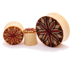 Crocodile Wood Plugs with Copper Wire and Tribal Lotus
