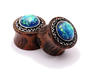 Rose Wood Plugs with Green Imitation Opal