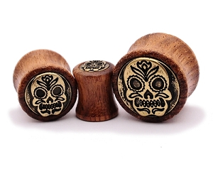Sono Wood Plugs with Brass Sugar Skull Inlay
