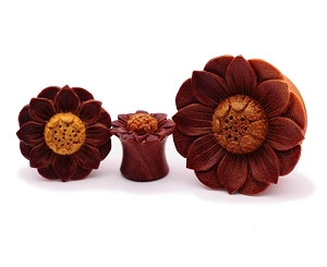 Hand Carved Lotus Flower Sawo Wood Plugs