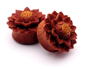 Hand Carved Lotus Flower Style 2 Sawo Wood Plugs