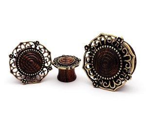 Sono Wood Plugs with Antique Gold Plated Tribal Filigree Top