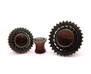 Rose Wood Plugs with Tribal Round Shield Top