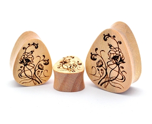 Laser Engraved Wood Nouveau Floral Teardrop Plugs
