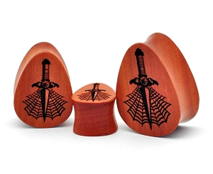 Laser Engraved Wood Dagger Teardrop Plugs