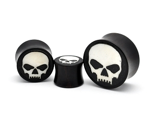 Iron Wood Plugs with Bone Skull Inlay