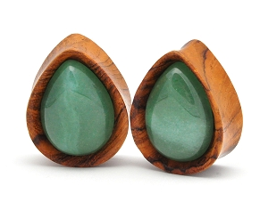 Olive Wood Teardrop Plugs with Green Aventurine Stone Inlay