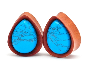 Saba Wood Teardrop Plugs with Turquoise Stone Inlay