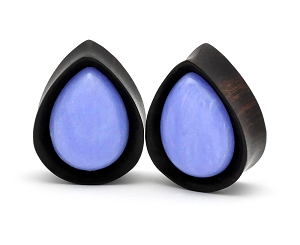 Areng Wood Teardrop Plugs with Blue Lace Agate Stone Inlay