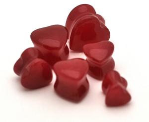 Red Jade Stone Heart Plugs