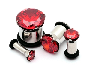 Steel Plugs with Red Prong Set CZ