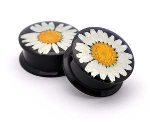 Black Acrylic Embedded Chrysanthemum Plugs