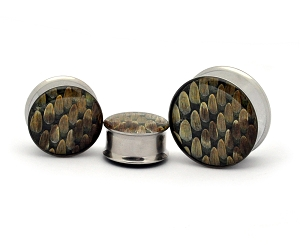 Embedded REAL Rattlesnake Skin Plugs