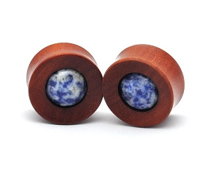 Saba Wood Concave Plugs with Blue Spot Stone