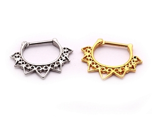 Ornate Tribal Heart Steel Septum Clicker