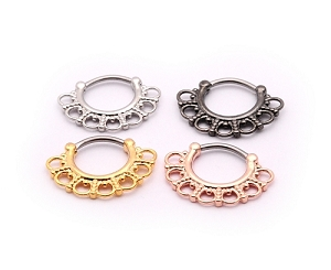 Tribal Round Filigree Steel Septum Clicker