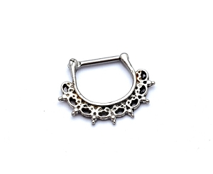 Tribal Lace Fan Steel Septum Clicker