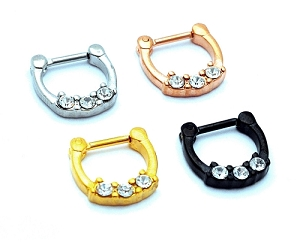 Three Prong Set CZ Steel Septum Clicker