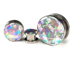 316L Stainless Steel Screw On Holographic PRISM Plugs