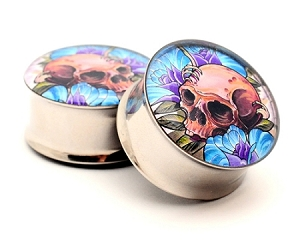 Skull and Roses Picture Plugs