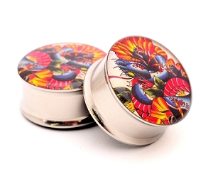 Snake and Roses Picture Plugs