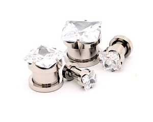 Stainless Steel SQUARE Prong Set CZ Screw on Plugs