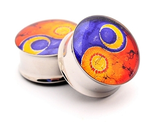 Sun and Moon Yin Yang Picture Plugs Style 2