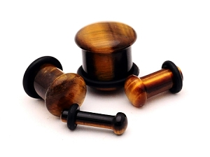 SINGLE FLARE Tiger Eye Stone Plugs