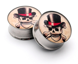 Top Hat Skull Picture Plugs