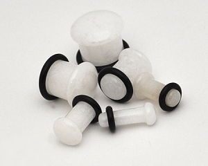 Single Flare White Jade Stone Plugs