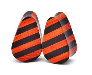 Striped Bloodwood and Areng Teardrop Wood Plugs