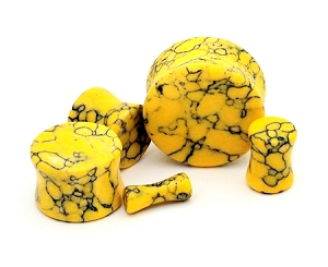Yellow Howlite Stone Plugs - Sold As a Pair