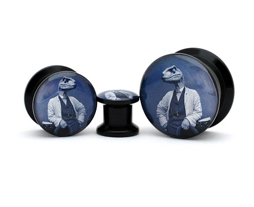 Black Acrylic Dapper Raptor Picture Plugs