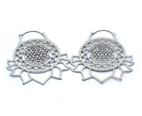 Hoop Earrings with Mandala Lotus