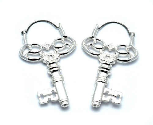 Hoop Earrings with Key
